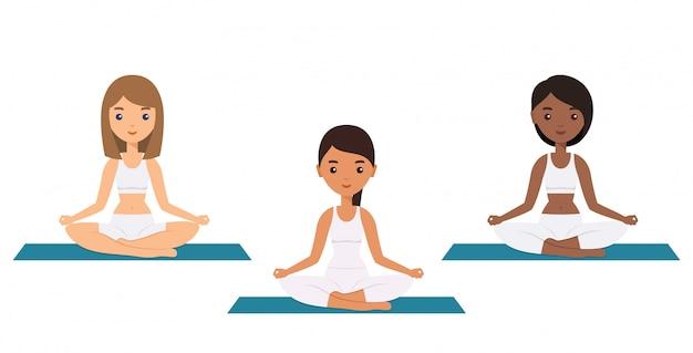 Personaggi femminili che si siedono nella posa di yoga del loto,