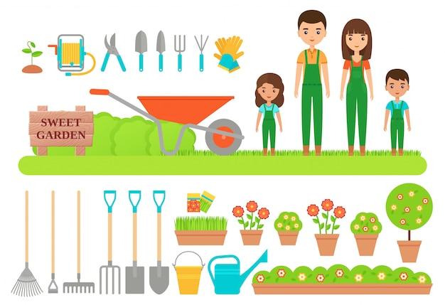 Personaggi giardiniere, attrezzi da giardino. illustrazione piatta.