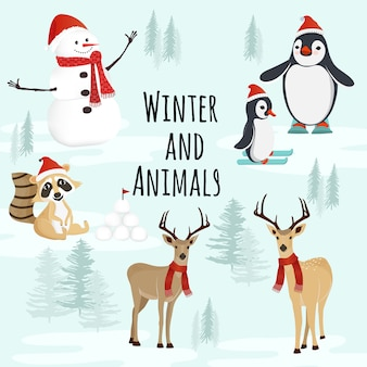 Personaggi invernali e animali nella neve