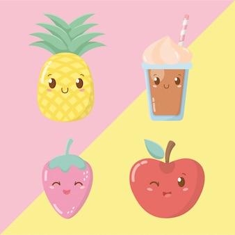 Personaggi kawaii di frutta fresca e sorbetti
