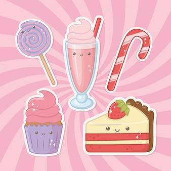 Personaggi kawaii di prodotti deliziosi e dolci