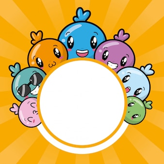 Personaggi kawaii felici, stile cartoon