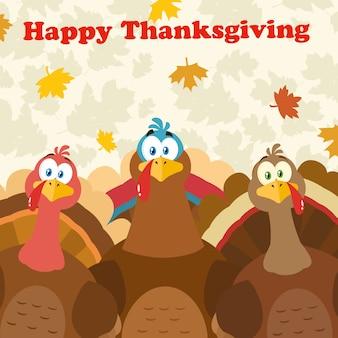 Personaggi mascotte dei cartoni animati di tacchino del ringraziamento.