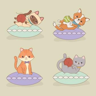 Personaggi mascotte di piccoli gatti e cani