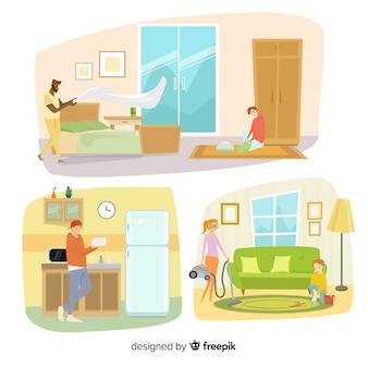 Personaggi minimalisti che fanno raccolta di lavori domestici
