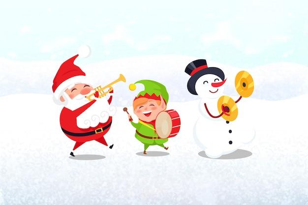 Personaggi natalizi con strumenti musicali