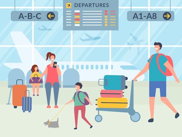 Personaggi nel terminal dell'aeroporto. illustrazioni viaggiatori felici