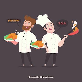 Personaggi piatti adorabili che parlano lingue diverse