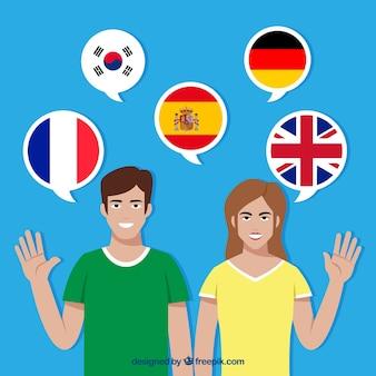Personaggi piatti che parlano lingue diverse