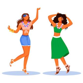 Personaggi piatti di ragazze danzanti