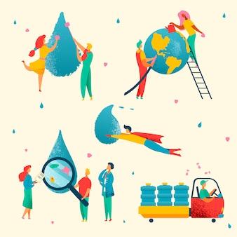 Personaggi piatti moderni colorati risparmio idrico