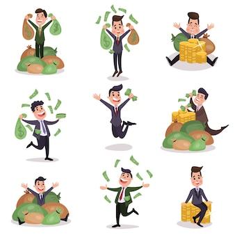 Personaggi ricchi e ricchi milionari felici che godono dei loro soldi illustrazioni colorate