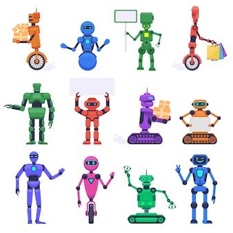 Personaggi robot. personaggi robotici meccanici umanoidi, mascotte dell'assistente di chatbot, insieme dell'illustrazione del bot del android di tecnologia. robot umanoide, futuristico cyborg meccanico