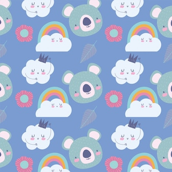 Personaggi simpatici animali di koala arcobaleno nuvole corona decorazione fumetto