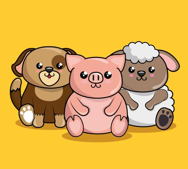 Personaggi simpatici animali stile kawaii