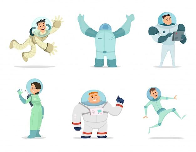 Personaggi spaziali mascotte di astronauti in stile cartoon