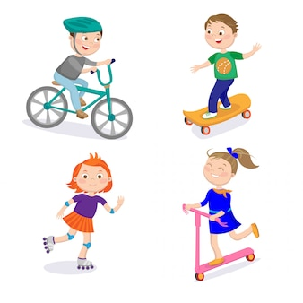 Personaggi sportivi per bambini. corse in bicicletta, skateboard, equitazione su rulli e scooter