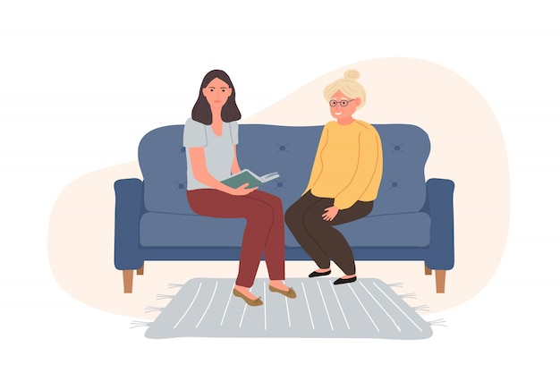 Personaggi volontari sta leggendo un libro donna dai capelli grigi più anziana seduta sul divano blu.