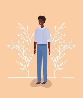 Personaggio afro giovane e casual