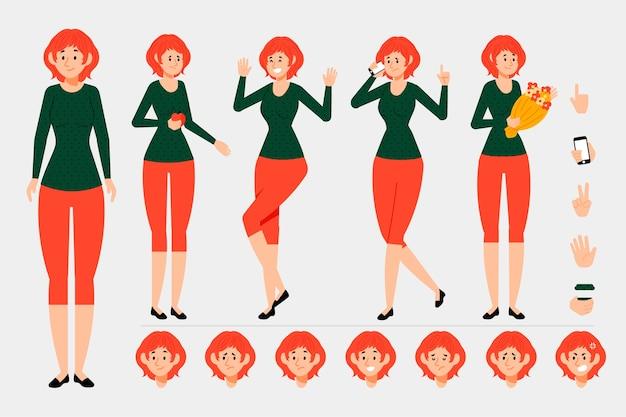 Personaggio animato frontale, laterale, posteriore