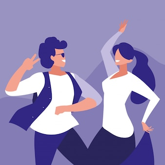Personaggio avatar di coppia danzante