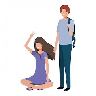 Personaggio avatar giovane coppia
