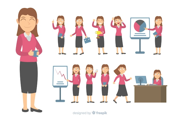 Personaggio aziendale piatta in diverse posizioni