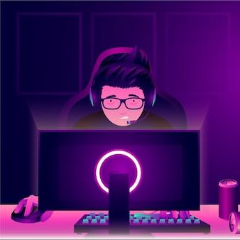 Personaggio che gioca a giochi online nel cuore della notte