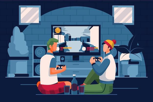 Personaggio che gioca a videogioco