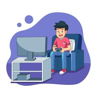Personaggio che gioca il videogioco illustrato