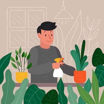 Personaggio che innaffia le sue piante al chiuso