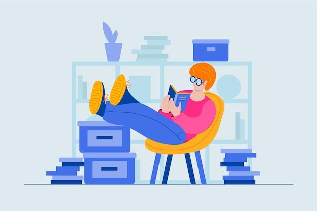 Personaggio che legge un libro invece di lavorare