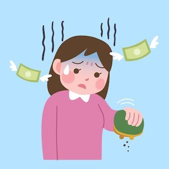 Personaggio che perde denaro