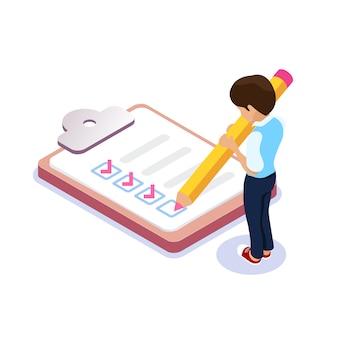 Personaggio con una matita