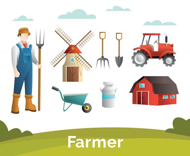 Personaggio contadino e set di elementi