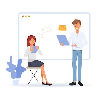 Personaggio degli uomini d'affari alla comunicazione online. concetto di rete di media sociali. le persone con gadget tecnologici. invio e ricezione di email al collega.