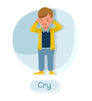 Personaggio dei bambini. piangere.