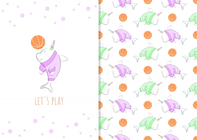 Personaggio dei cartoni animati adorabile del delfino con la palla del canestro, l'illustrazione e il modello senza cuciture