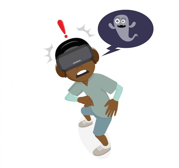 Personaggio dei cartoni animati, african boys che indossa occhiali vr e giochi di fantasmi.