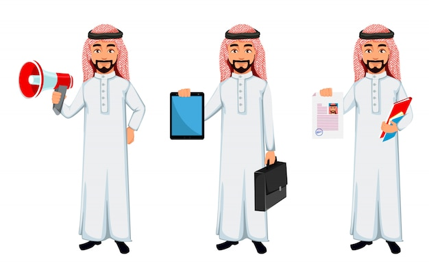 Personaggio dei cartoni animati arabo moderno dell'uomo di affari