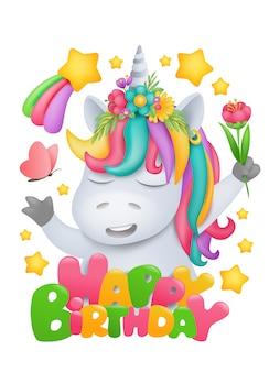 Personaggio dei cartoni animati arcobaleno unicorno con fiore in mano. modello di carta di invito di compleanno