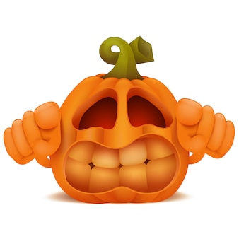 Personaggio dei cartoni animati arrabbiato dell'emoticon di jack lantern della zucca di halloween.