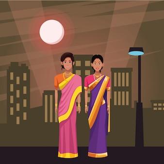 Personaggio dei cartoni animati avatar donne indiane