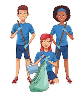 Personaggio dei cartoni animati avatar persona di servizio di pulizia
