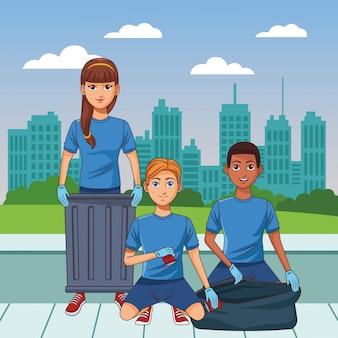 Personaggio dei cartoni animati avatar persona servizio di pulizia