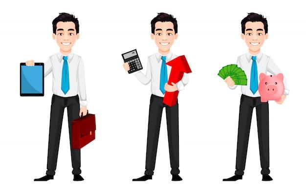 Personaggio dei cartoni animati bello uomo d'affari