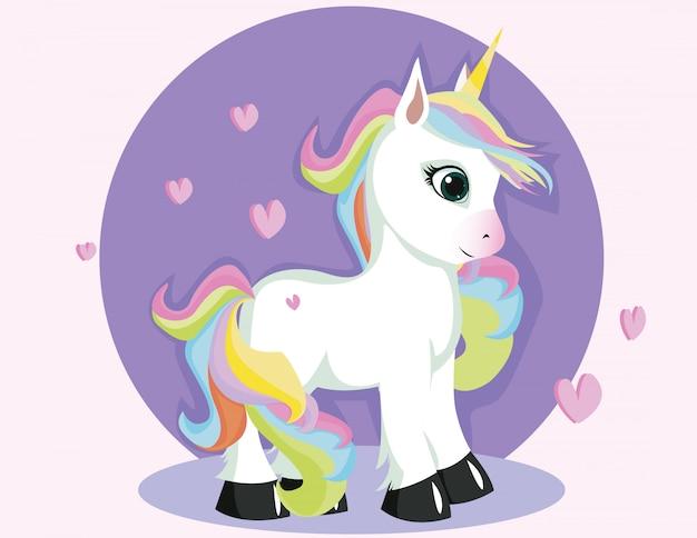 Personaggio dei cartoni animati bianco unicorno con pose in piedi