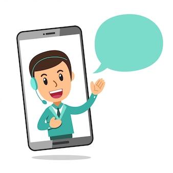 Personaggio dei cartoni animati call center servizio uomo che indossa l'auricolare sullo schermo dello smartphone
