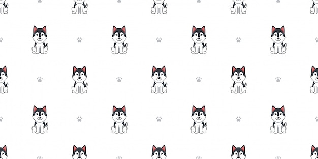 Personaggio dei cartoni animati cane husky siberiano sfondo seamless
