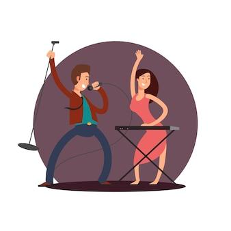 Personaggio dei cartoni animati cantante maschio e pianista femmina
